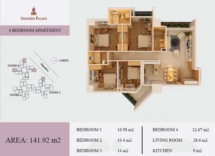 Ground layout of 04 bedroom apartment in Golden Palace