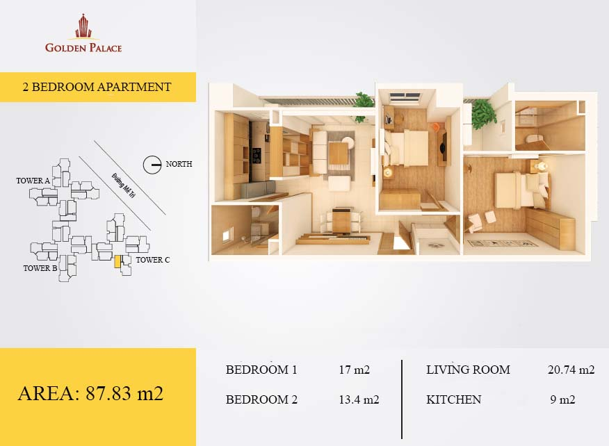 Layout ground of 02 bedroom apartment in Golden Palace